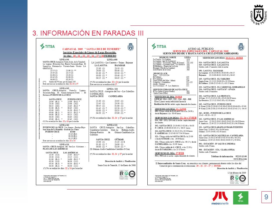 9 3. INFORMACIÓN EN PARADAS III