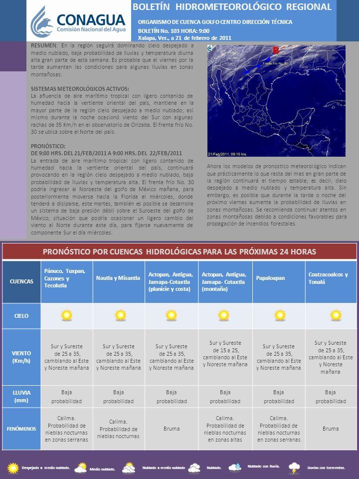 F BOLETÍN HIDROMETEOROLÓGICO REGIONAL ORGANISMO DE CUENCA GOLFO CENTRO DIRECCIÓN TÉCNICA BOLETÍN No. 103 HORA: 9:00 Xalapa, Ver., a 21 de febrero de 2