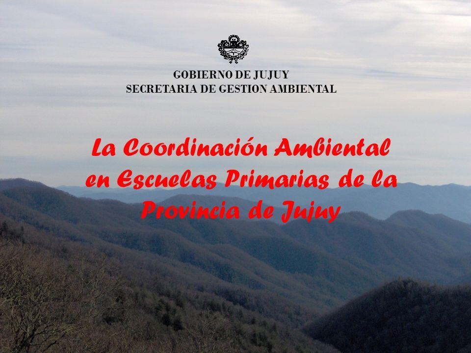 GOBIERNO DE JUJUY SECRETARIA DE GESTION AMBIENTAL La Coordinación Ambiental en Escuelas Primarias de la Provincia de Jujuy