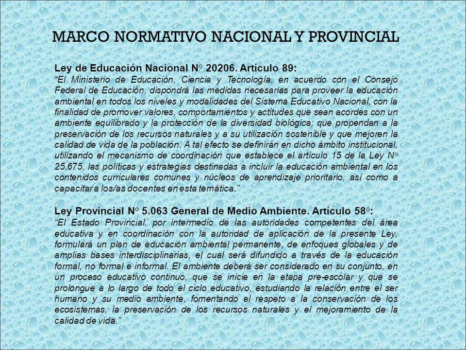MARCO NORMATIVO NACIONAL Y PROVINCIAL Ley de Educación Nacional N° 20206. Artículo 89: El Ministerio de Educación, Ciencia y Tecnología, en acuerdo co