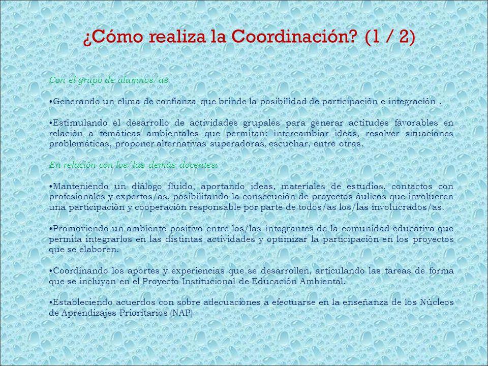 ¿Cómo realiza la Coordinación? (1 / 2) Con el grupo de alumnos/as: Generando un clima de confianza que brinde la posibilidad de participación e integr