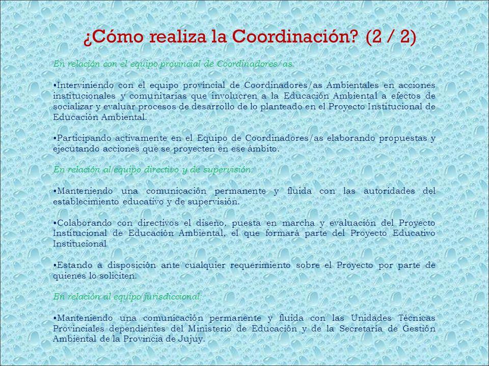 ¿Cómo realiza la Coordinación? (2 / 2) En relación con el equipo provincial de Coordinadores/as: Interviniendo con el equipo provincial de Coordinador