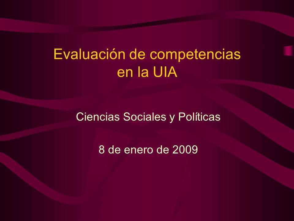 Evaluación de competencias en la UIA Ciencias Sociales y Políticas 8 de enero de 2009