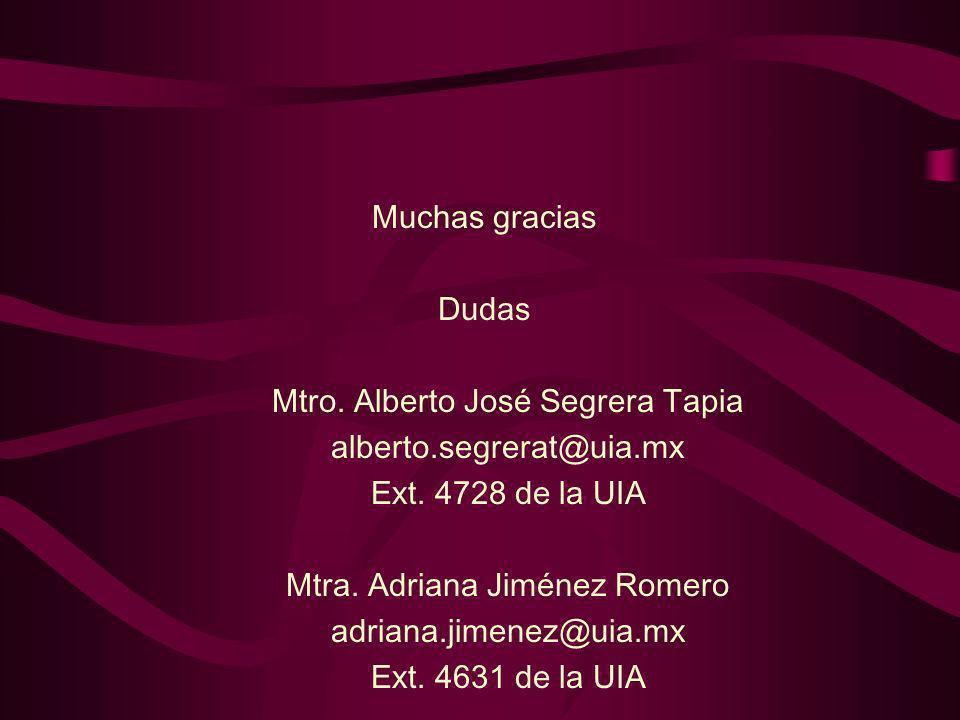 Muchas gracias Dudas Mtro. Alberto José Segrera Tapia alberto.segrerat@uia.mx Ext. 4728 de la UIA Mtra. Adriana Jiménez Romero adriana.jimenez@uia.mx