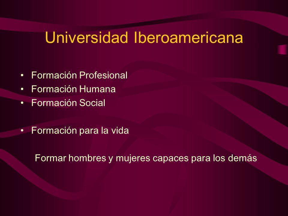Universidad Iberoamericana Formación Profesional Formación Humana Formación Social Formación para la vida Formar hombres y mujeres capaces para los de