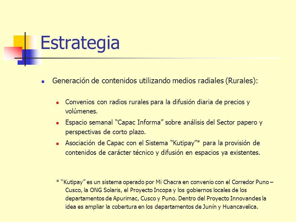 Estrategia Generación de contenidos utilizando medios radiales (Rurales): Convenios con radios rurales para la difusión diaria de precios y volúmenes.