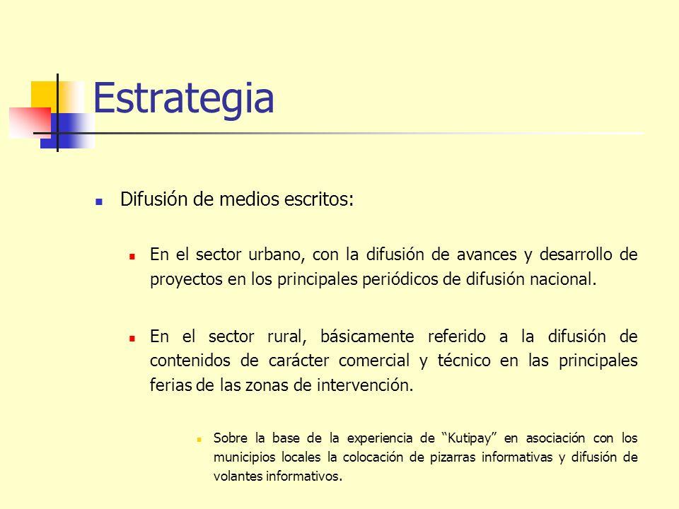 Estrategia Difusión de medios escritos: En el sector urbano, con la difusión de avances y desarrollo de proyectos en los principales periódicos de dif