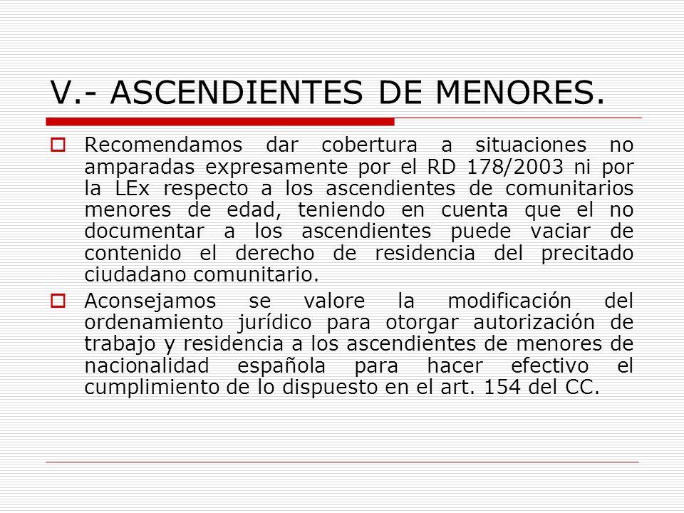V.- ASCENDIENTES DE MENORES. Recomendamos dar cobertura a situaciones no amparadas expresamente por el RD 178/2003 ni por la LEx respecto a los ascend