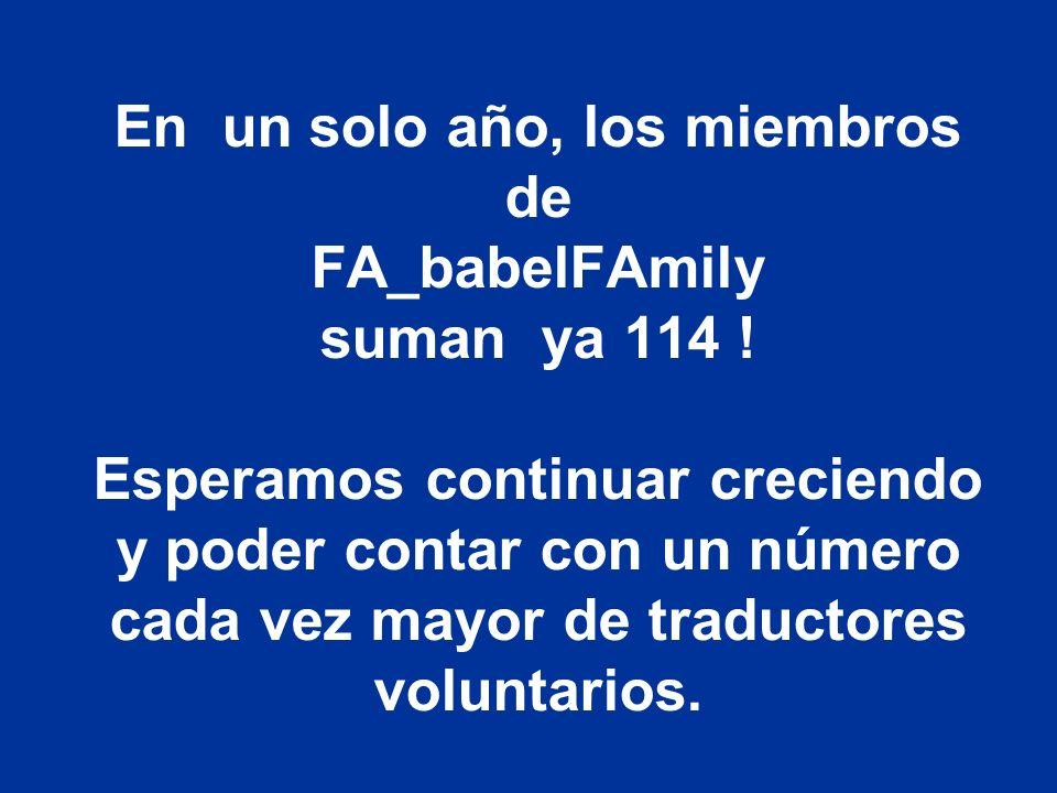 En un solo año, los miembros de FA_babelFAmily suman ya 114 ! Esperamos continuar creciendo y poder contar con un número cada vez mayor de traductores