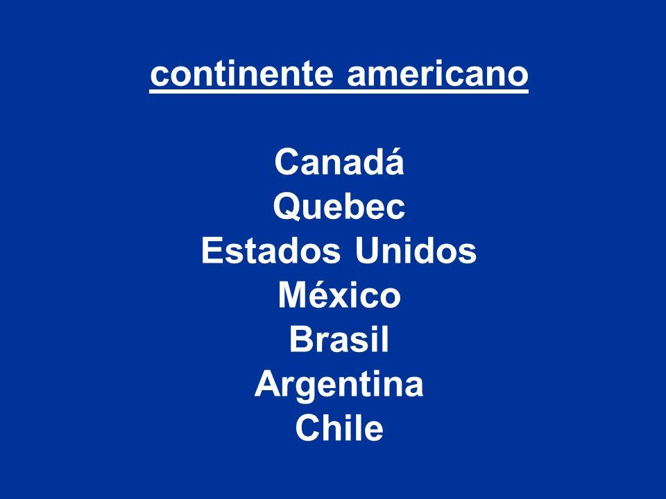 continente americano Canadá Quebec Estados Unidos México Brasil Argentina Chile