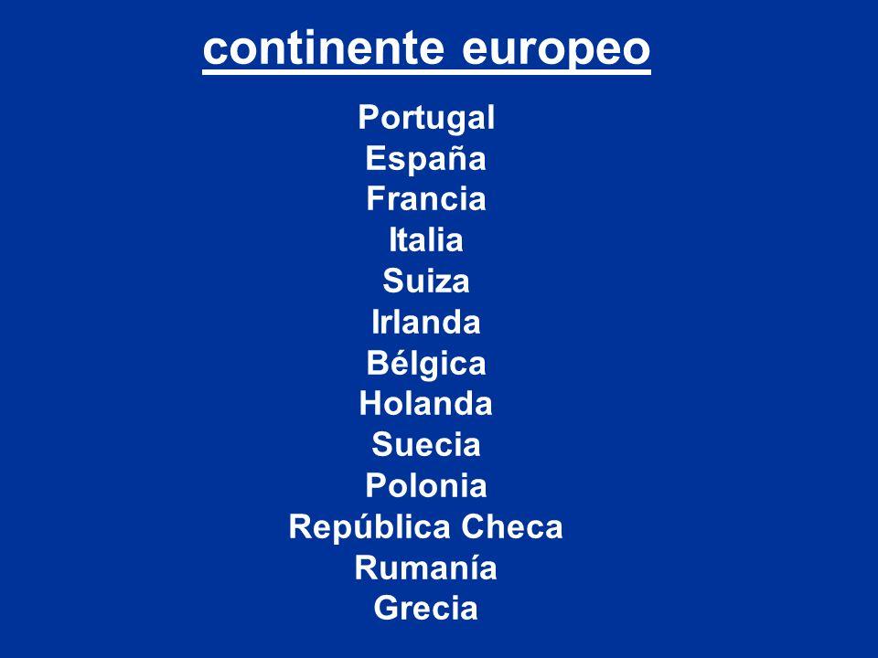 continente europeo Portugal España Francia Italia Suiza Irlanda Bélgica Holanda Suecia Polonia República Checa Rumanía Grecia