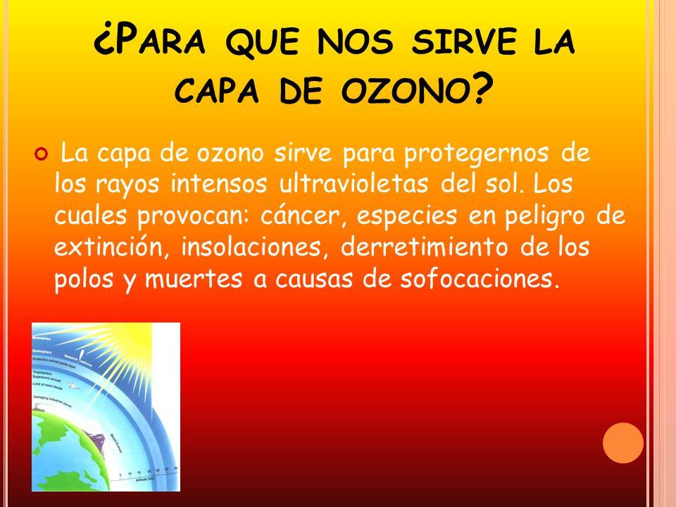 ¿P ARA QUE NOS SIRVE LA CAPA DE OZONO ? La capa de ozono sirve para protegernos de los rayos intensos ultravioletas del sol. Los cuales provocan: cánc