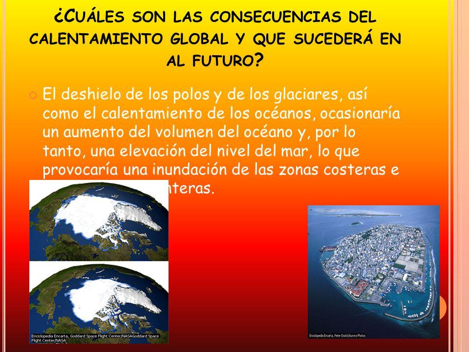 ¿C UÁLES SON LAS CONSECUENCIAS DEL CALENTAMIENTO GLOBAL Y QUE SUCEDERÁ EN AL FUTURO ? El deshielo de los polos y de los glaciares, así como el calenta