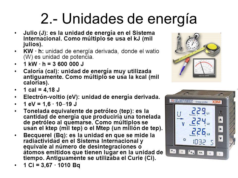 2.- Unidades de energía Julio (J): es la unidad de energía en el Sistema Internacional. Como múltiplo se usa el kJ (mil julios). KW · h: unidad de ene