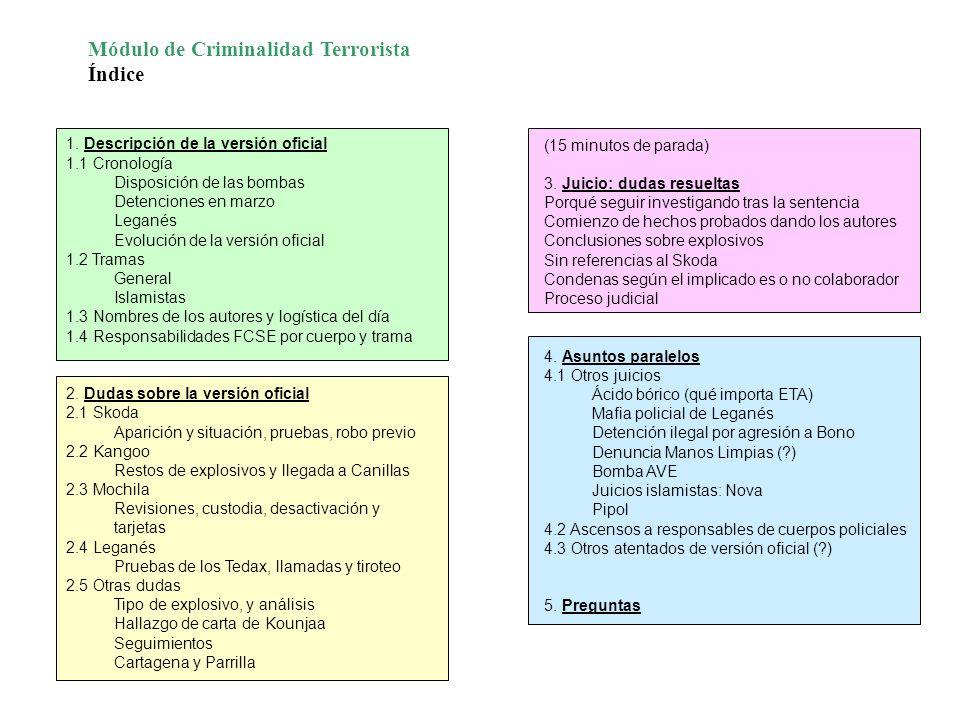 1. Descripción de la versión oficial 1.1 Cronología Disposición de las bombas Detenciones en marzo Leganés Evolución de la versión oficial 1.2 Tramas