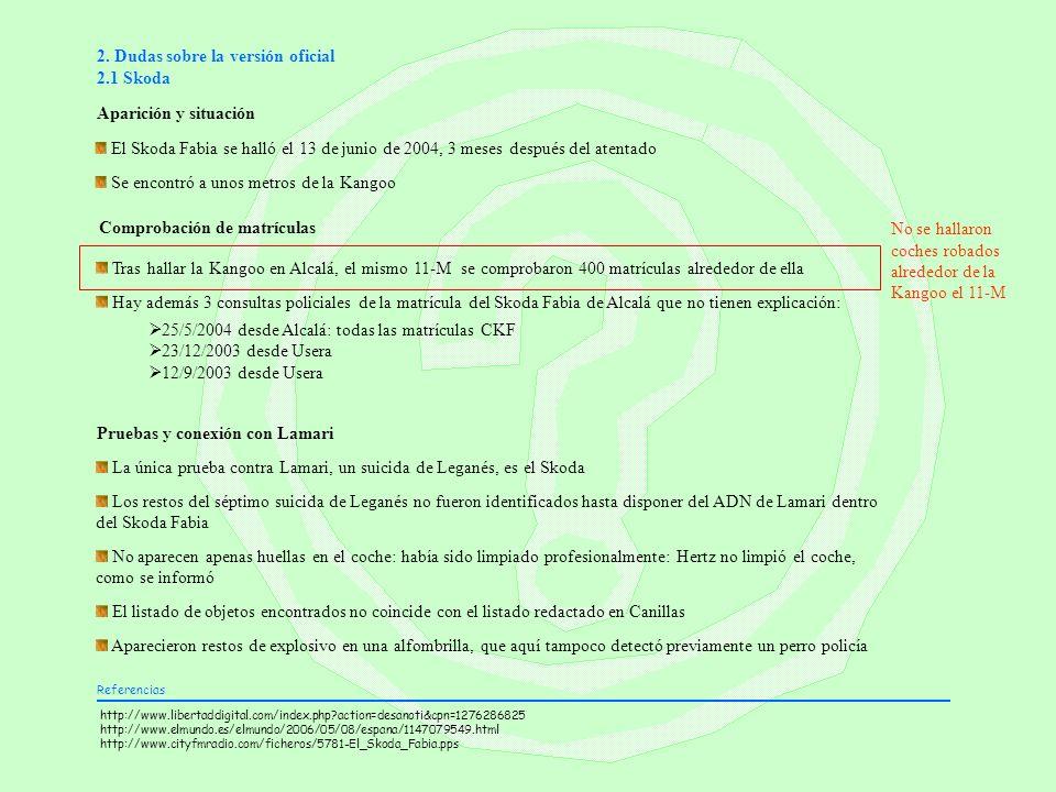 2. Dudas sobre la versión oficial 2.1 Skoda Aparición y situación Comprobación de matrículas Tras hallar la Kangoo en Alcalá, el mismo 11-M se comprob