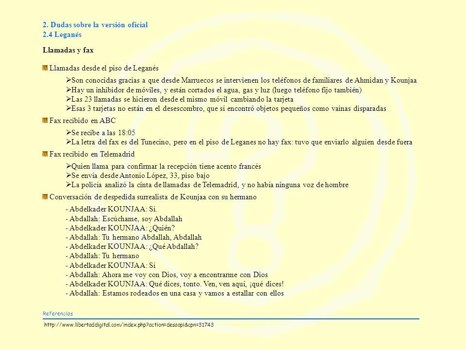2. Dudas sobre la versión oficial 2.4 Leganés Llamadas y fax Llamadas desde el piso de Leganés Son conocidas gracias a que desde Marruecos se intervie