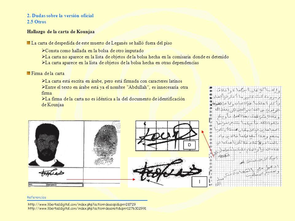 2. Dudas sobre la versión oficial 2.5 Otros Hallazgo de la carta de Kounjaa Referencias http://www.libertaddigital.com/index.php?action=desaopi&cpn=28