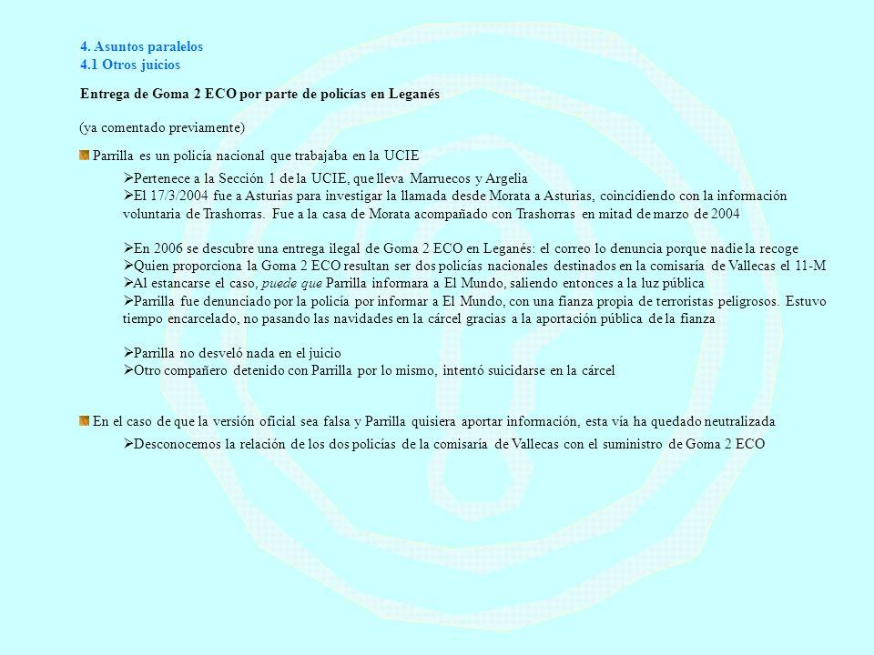 4. Asuntos paralelos 4.1 Otros juicios Entrega de Goma 2 ECO por parte de policías en Leganés (ya comentado previamente) Parrilla es un policía nacion