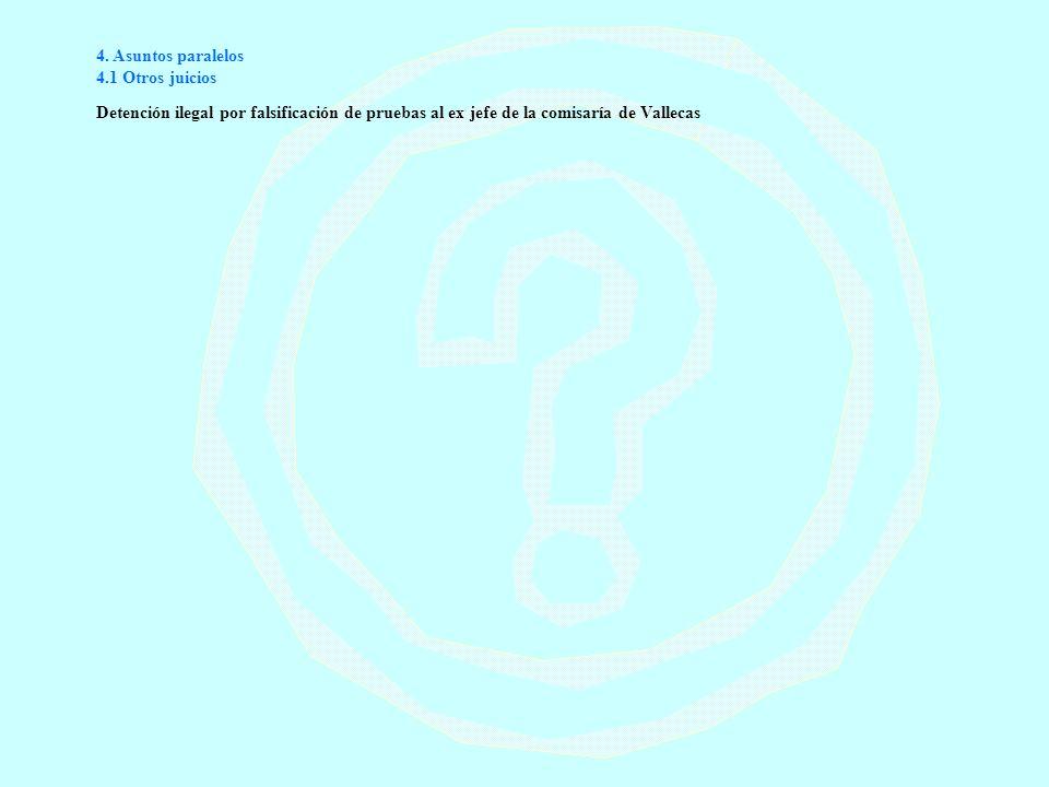 4. Asuntos paralelos 4.1 Otros juicios Detención ilegal por falsificación de pruebas al ex jefe de la comisaría de Vallecas