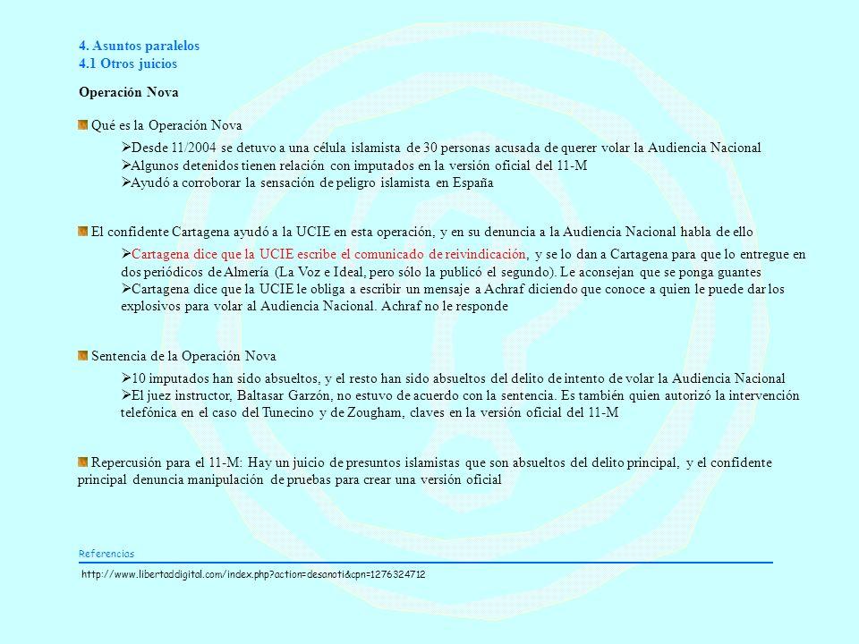 4. Asuntos paralelos 4.1 Otros juicios Operación Nova Qué es la Operación Nova Desde 11/2004 se detuvo a una célula islamista de 30 personas acusada d
