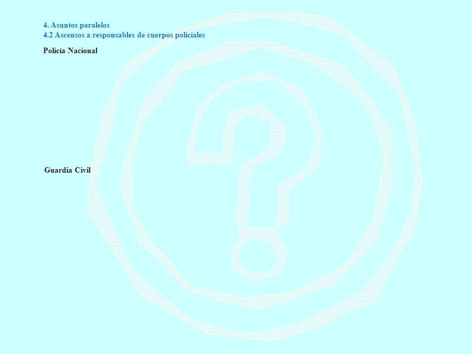 4. Asuntos paralelos 4.2 Ascensos a responsables de cuerpos policiales Policía Nacional Guardia Civil