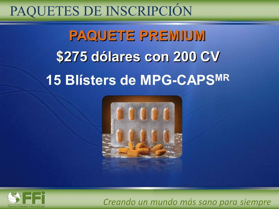 $275 dólares con 200 CV 15 Blísters de MPG-CAPS MR PAQUETES DE INSCRIPCIÓN PAQUETE PREMIUM