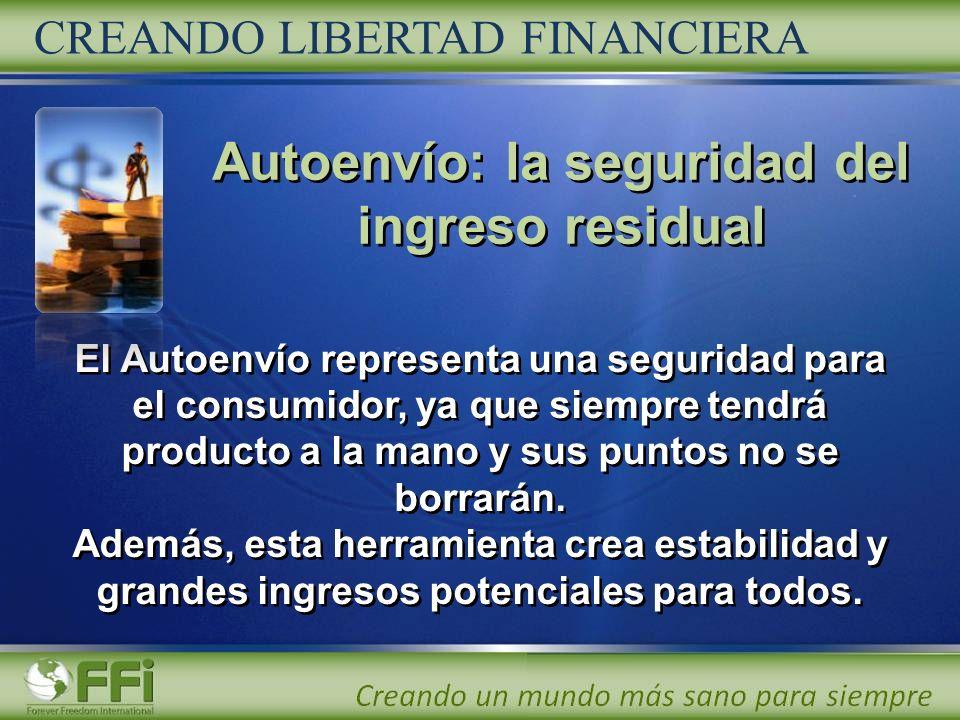Autoenvío: la seguridad del ingreso residual CREANDO LIBERTAD FINANCIERA El Autoenvío representa una seguridad para el consumidor, ya que siempre tend