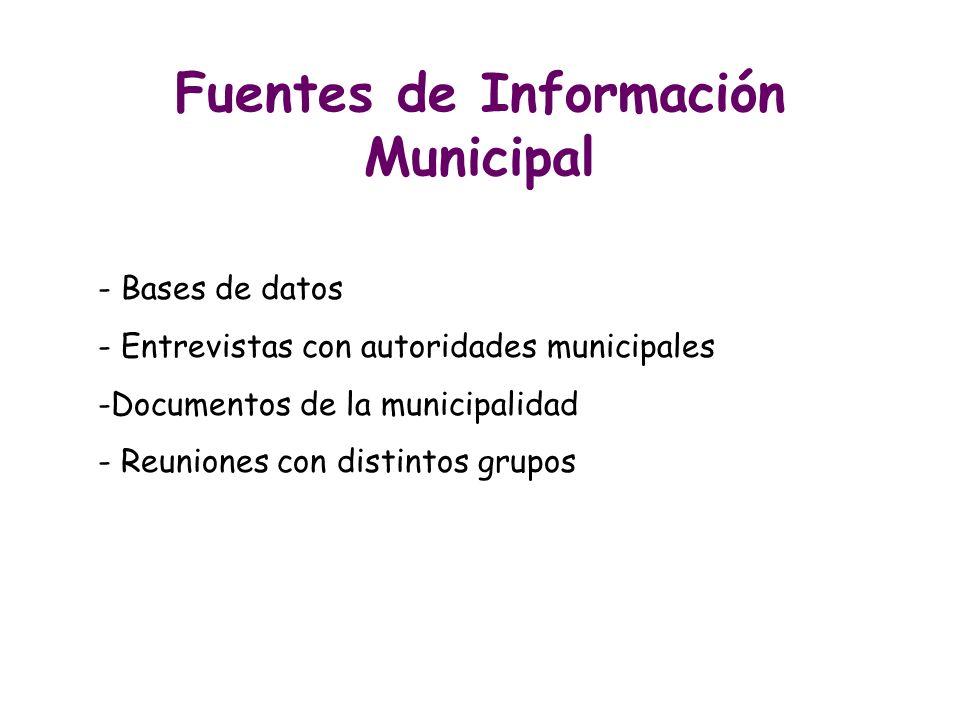Fuentes de Información Municipal - Bases de datos - Entrevistas con autoridades municipales -Documentos de la municipalidad - Reuniones con distintos