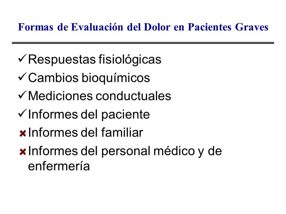 Formas de Evaluación del Dolor en Pacientes Graves Respuestas fisiológicas Cambios bioquímicos Mediciones conductuales Informes del paciente Informes
