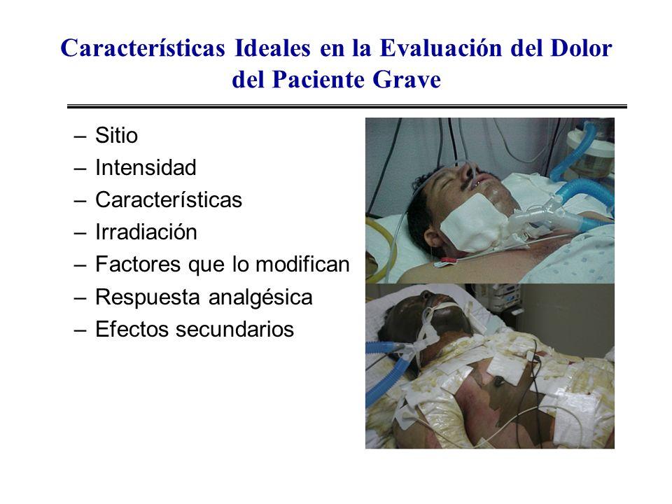 Características Ideales en la Evaluación del Dolor del Paciente Grave –Sitio –Intensidad –Características –Irradiación –Factores que lo modifican –Res