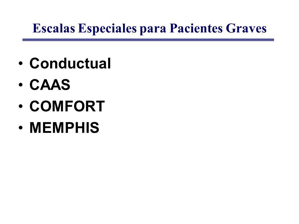 Escalas Especiales para Pacientes Graves Conductual CAAS COMFORT MEMPHIS