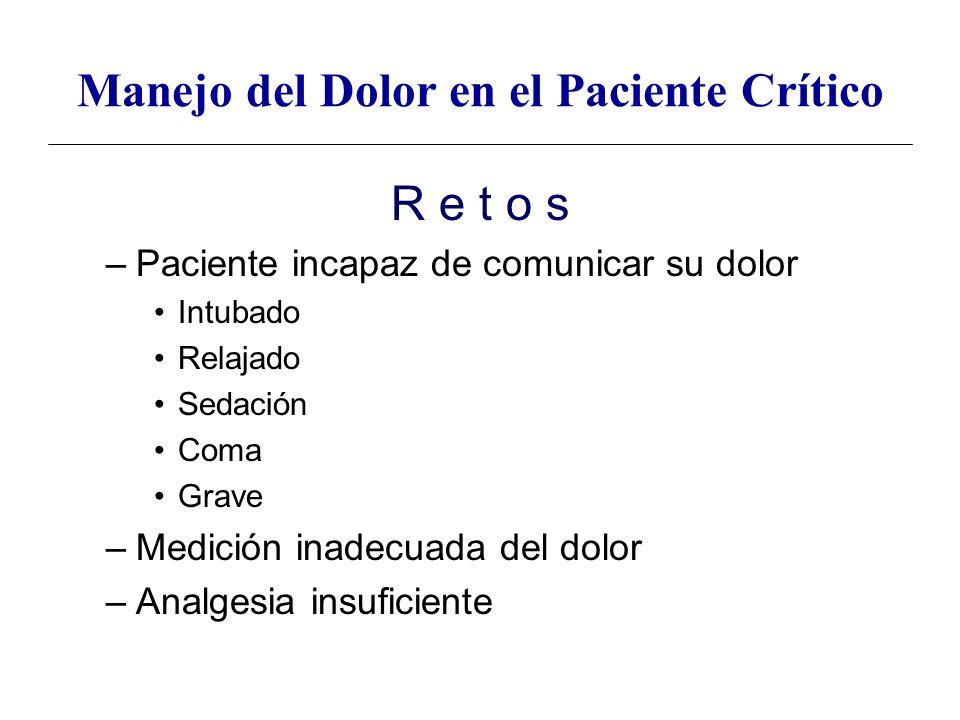 R e t o s –Paciente incapaz de comunicar su dolor Intubado Relajado Sedación Coma Grave –Medición inadecuada del dolor –Analgesia insuficiente Manejo