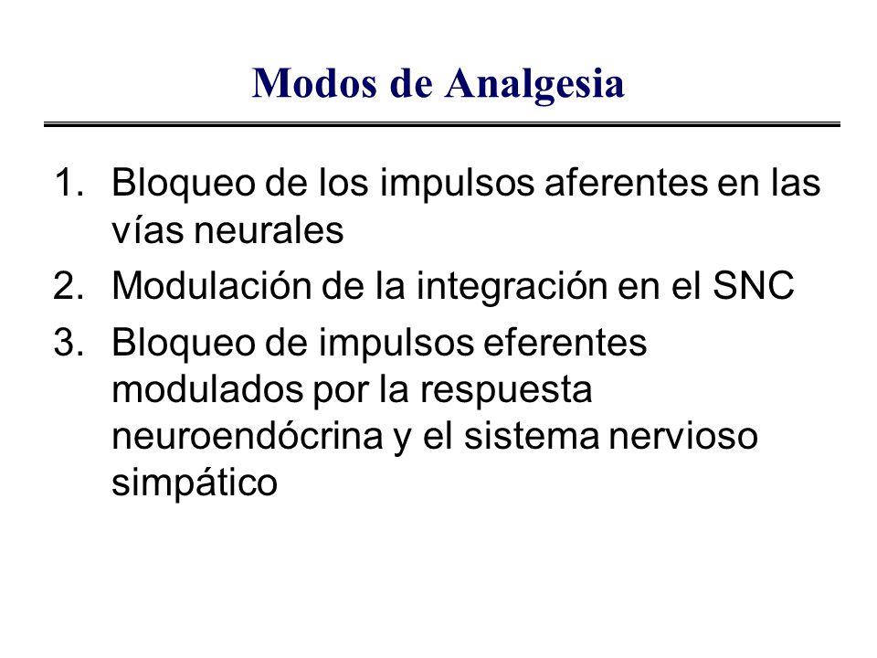 Modos de Analgesia 1.Bloqueo de los impulsos aferentes en las vías neurales 2.Modulación de la integración en el SNC 3.Bloqueo de impulsos eferentes m