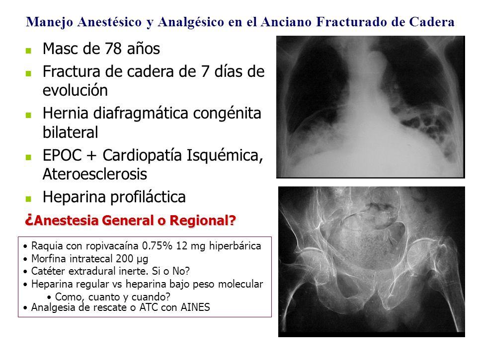 Masc de 78 años Fractura de cadera de 7 días de evolución Hernia diafragmática congénita bilateral EPOC + Cardiopatía Isquémica, Ateroesclerosis Hepar