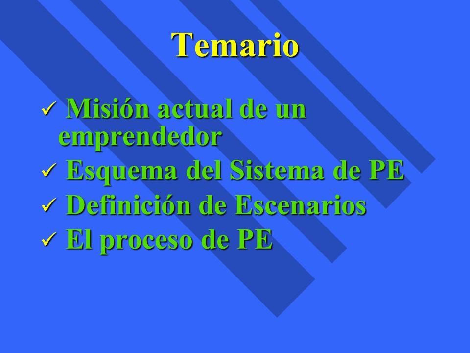 Temario Misión actual de un emprendedor Misión actual de un emprendedor Esquema del Sistema de PE Esquema del Sistema de PE Definición de Escenarios D