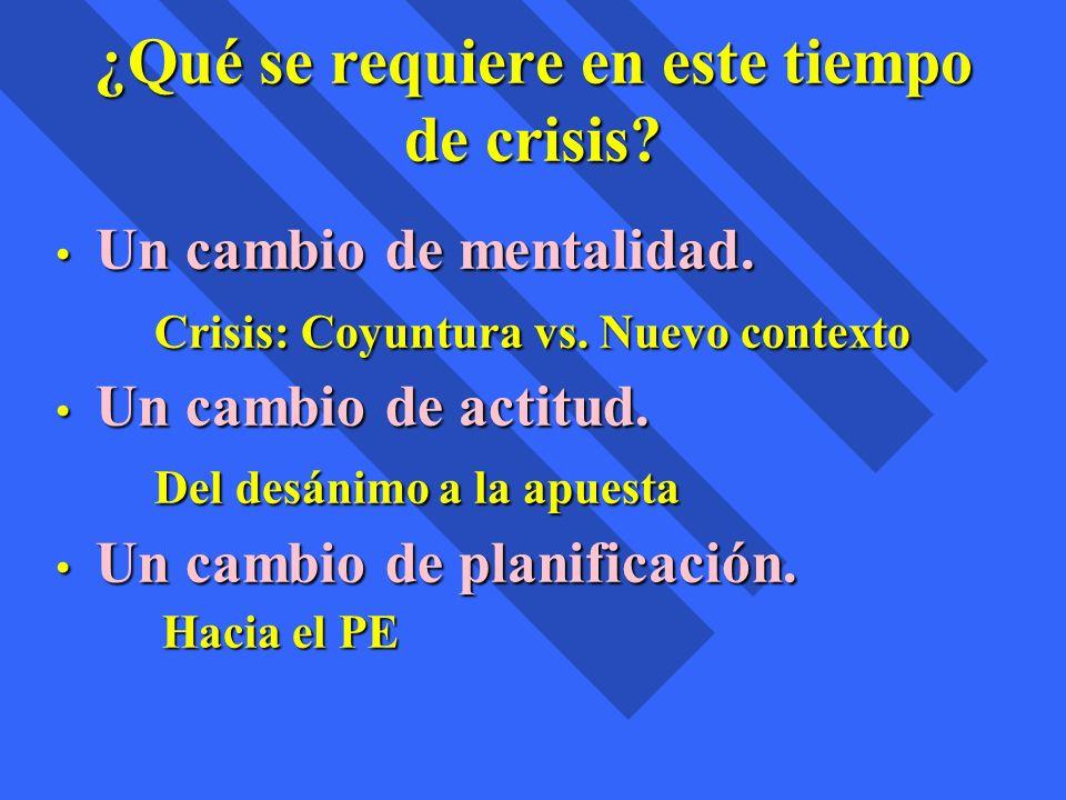 ¿Qué se requiere en este tiempo de crisis? Un cambio de mentalidad. Un cambio de mentalidad. Crisis: Coyuntura vs. Nuevo contexto Crisis: Coyuntura vs