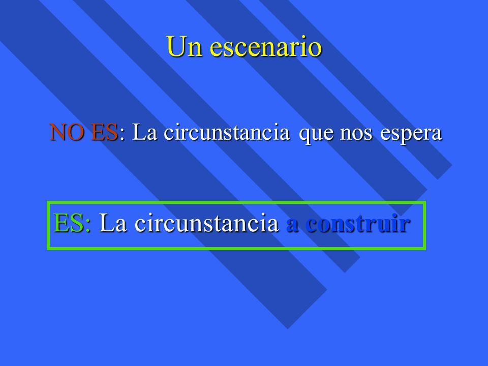 Un escenario NO ES: La circunstancia que nos espera ES: La circunstancia a construir