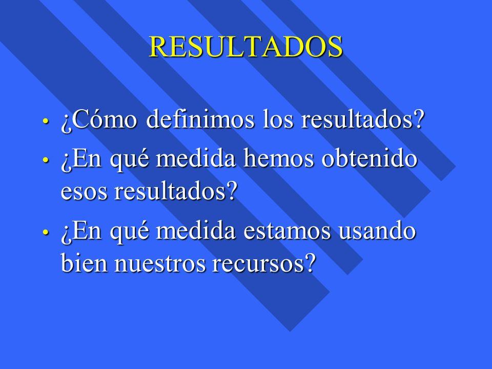 RESULTADOS ¿Cómo definimos los resultados? ¿Cómo definimos los resultados? ¿En qué medida hemos obtenido esos resultados? ¿En qué medida hemos obtenid