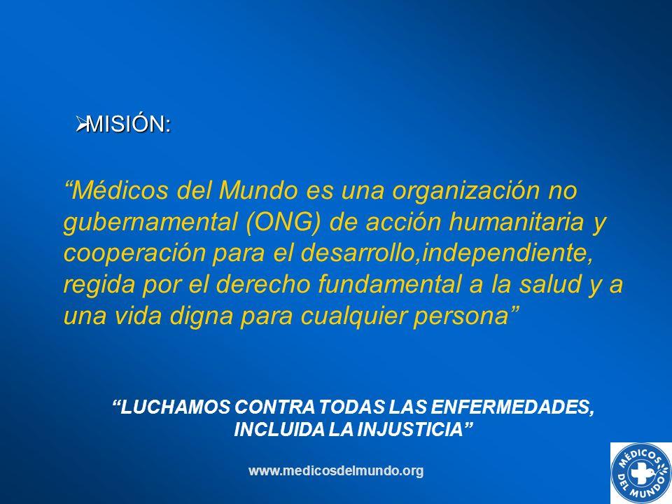 www.medicosdelmundo.org Médicos del Mundo es una organización no gubernamental (ONG) de acción humanitaria y cooperación para el desarrollo,independie