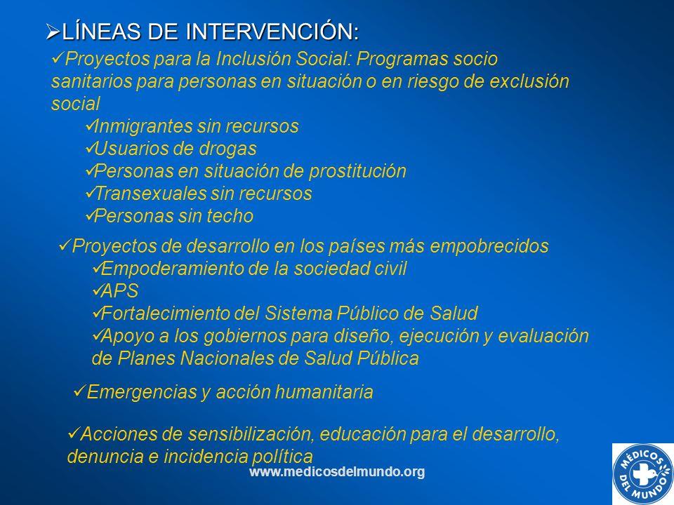 www.medicosdelmundo.org LÍNEAS DE INTERVENCIÓN: LÍNEAS DE INTERVENCIÓN: Emergencias y acción humanitaria Proyectos de desarrollo en los países más emp
