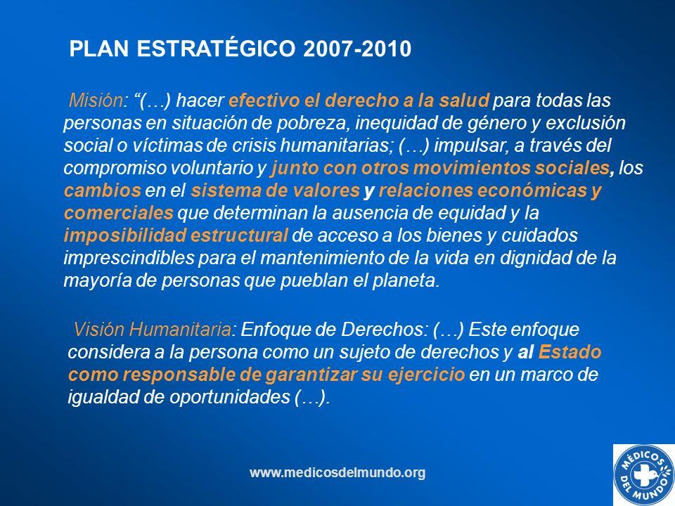 www.medicosdelmundo.org PLAN ESTRATÉGICO 2007-2010 Visión Humanitaria: Enfoque de Derechos: (…) Este enfoque considera a la persona como un sujeto de