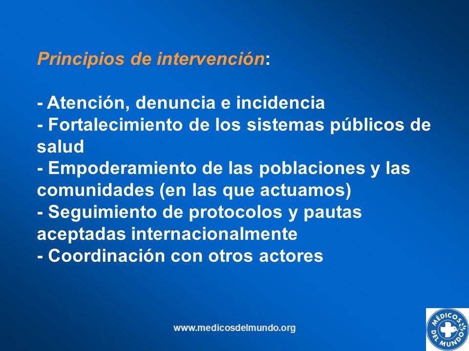 www.medicosdelmundo.org Principios de intervención: - Atención, denuncia e incidencia - Fortalecimiento de los sistemas públicos de salud - Empoderami