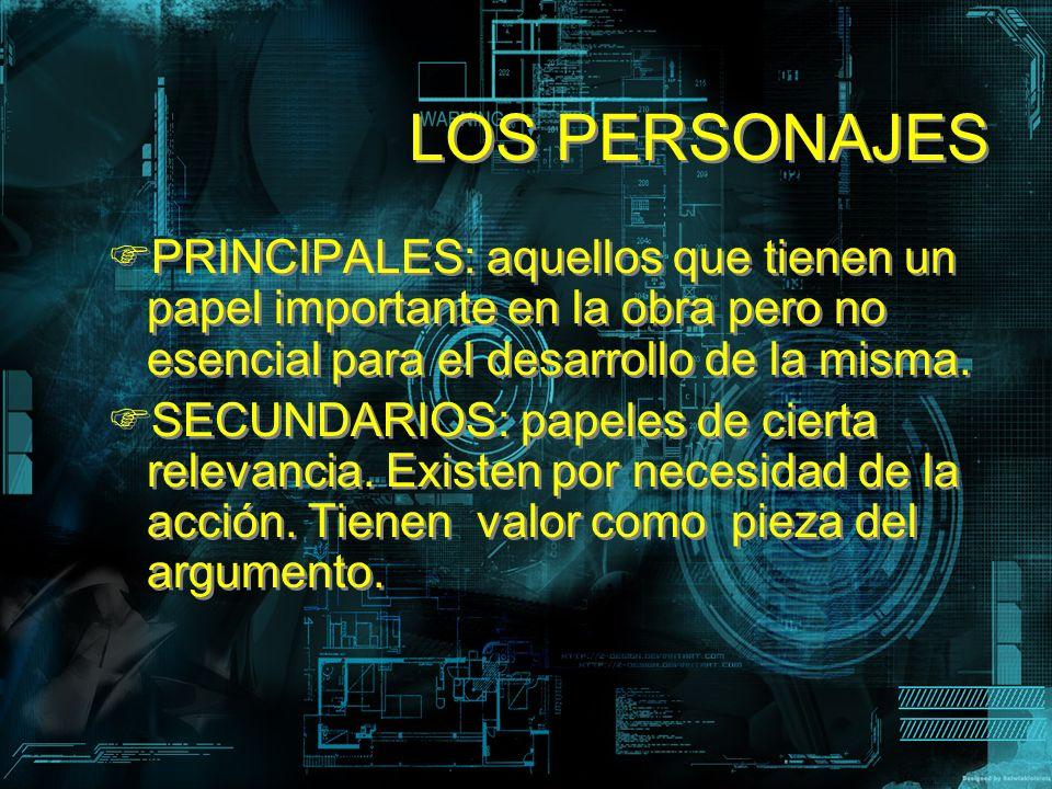 LOS PERSONAJES PRINCIPALES: aquellos que tienen un papel importante en la obra pero no esencial para el desarrollo de la misma. SECUNDARIOS: papeles d
