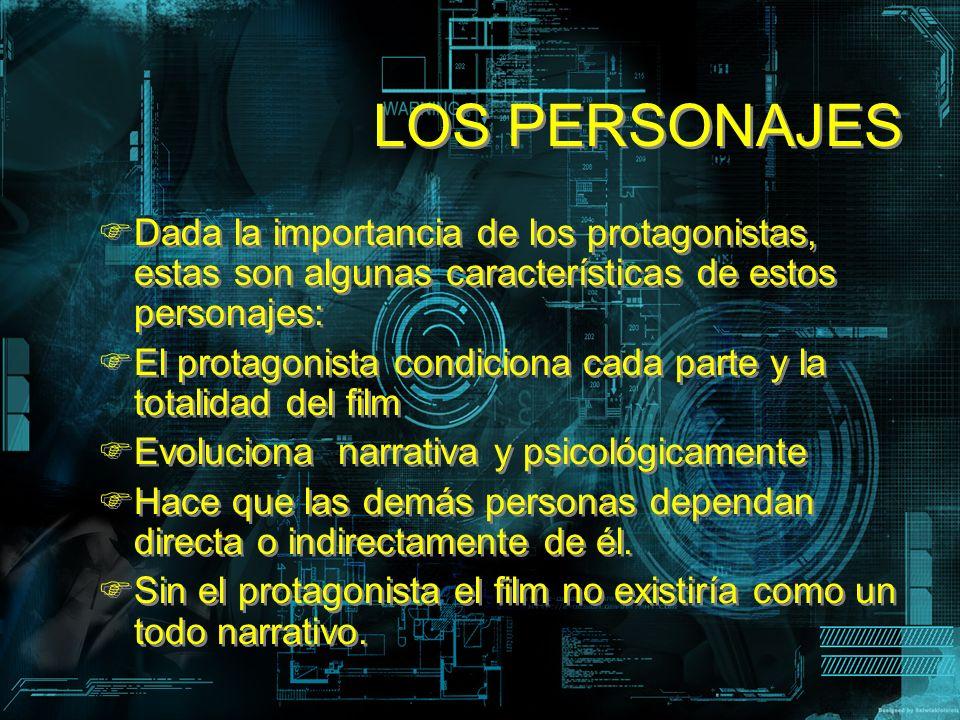 LOS PERSONAJES Dada la importancia de los protagonistas, estas son algunas características de estos personajes: El protagonista condiciona cada parte