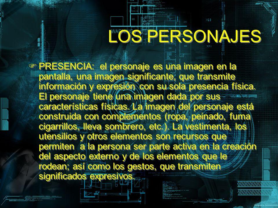 LOS PERSONAJES PRESENCIA: el personaje es una imagen en la pantalla, una imagen significante, que transmite información y expresión con su sola presen