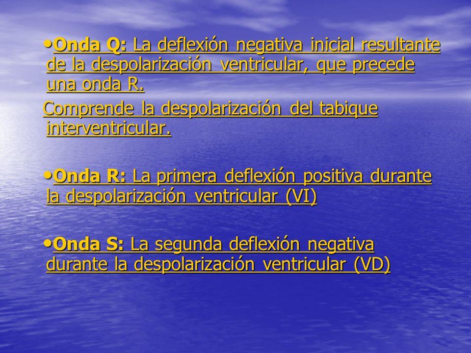 Onda Q: La deflexión negativa inicial resultante de la despolarización ventricular, que precede una onda R.