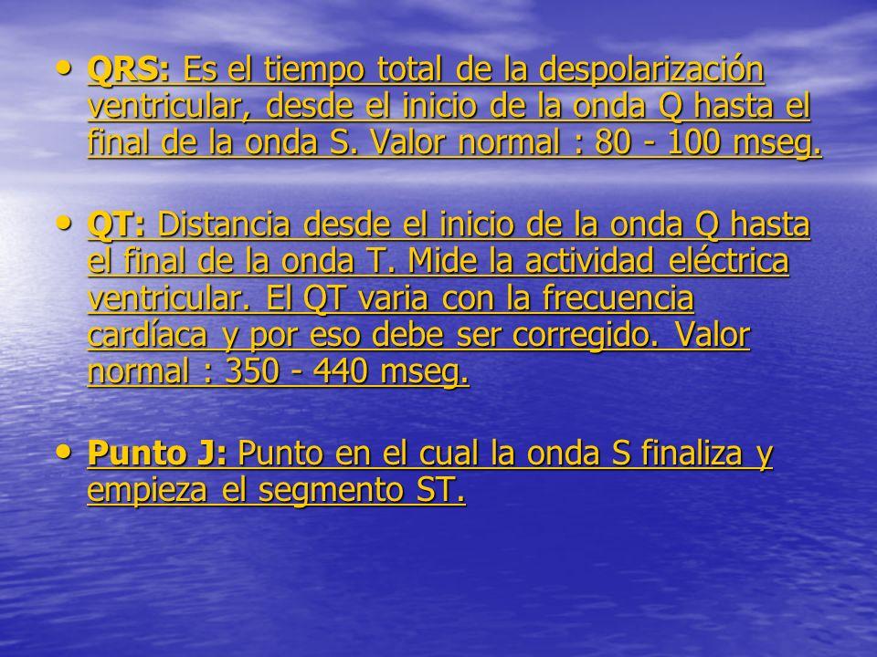 QRS: Es el tiempo total de la despolarización ventricular, desde el inicio de la onda Q hasta el final de la onda S.