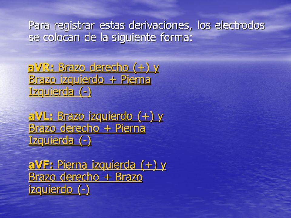 Para registrar estas derivaciones, los electrodos se colocan de la siguiente forma: Para registrar estas derivaciones, los electrodos se colocan de la siguiente forma: aVR: Brazo derecho (+) y Brazo izquierdo + Pierna Izquierda (-) aVL: Brazo izquierdo (+) y Brazo derecho + Pierna Izquierda (-) aVF: Pierna izquierda (+) y Brazo derecho + Brazo izquierdo (-) aVR: Brazo derecho (+) y Brazo izquierdo + Pierna Izquierda (-) aVL: Brazo izquierdo (+) y Brazo derecho + Pierna Izquierda (-) aVF: Pierna izquierda (+) y Brazo derecho + Brazo izquierdo (-)aVR: Brazo derecho (+) y Brazo izquierdo + Pierna Izquierda (-) aVL: Brazo izquierdo (+) y Brazo derecho + Pierna Izquierda (-) aVF: Pierna izquierda (+) y Brazo derecho + Brazo izquierdo (-)aVR: Brazo derecho (+) y Brazo izquierdo + Pierna Izquierda (-) aVL: Brazo izquierdo (+) y Brazo derecho + Pierna Izquierda (-) aVF: Pierna izquierda (+) y Brazo derecho + Brazo izquierdo (-)