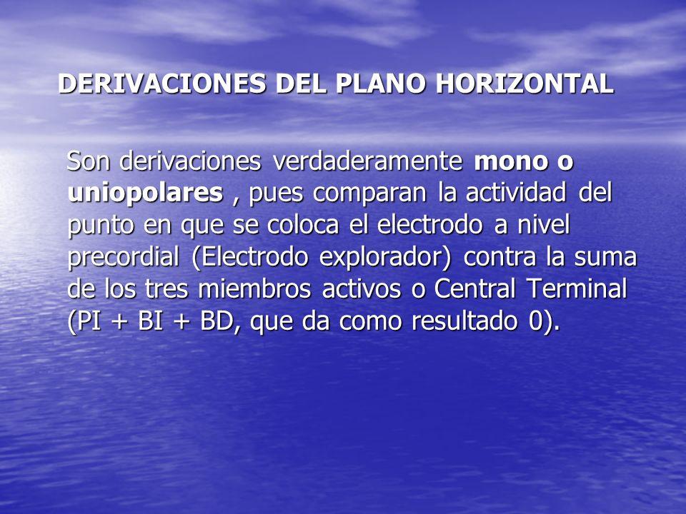 DERIVACIONES DEL PLANO HORIZONTAL DERIVACIONES DEL PLANO HORIZONTAL Son derivaciones verdaderamente mono o uniopolares, pues comparan la actividad del punto en que se coloca el electrodo a nivel precordial (Electrodo explorador) contra la suma de los tres miembros activos o Central Terminal (PI + BI + BD, que da como resultado 0).